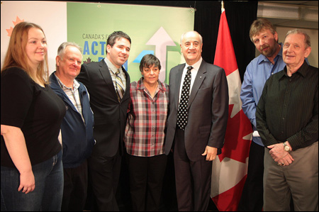 From left to right: Katrina Studeny, Vice-president, Marine Heights Co-op; Alan Worth, Board Treasurer, Marine Heights Co-op, David Granovsky, Government Relations Co-ordinator, CHF; Loraine Page, Co-ordinator, Marine Heights Co-op; Julian Fantino, Minister of State (Seniors) and Member of Parliament for Vaughan; Jim Studeny, Board President, Marine Heights Co-op; and Jim Colcolle, Board Member, Marine Heights Co-op.
