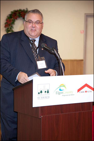 Joe Preston, MP for Elgin – Middlesex – London, offers greetings on behalf of the federal government and CMHC at the St. Thomas — Elgin Affordable Housing Forum.