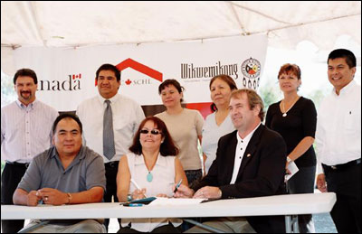 Ontario's first on-reserve housing trust agreement signed today by cmhc and the wikwemikong indian band