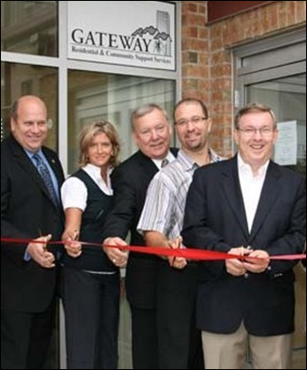 From left to right: Mr. Dean Allison, MP for Niagara West-Glenbrook , Karen Murray member of the Niagara Regional Housing Board, Regional Councillor and Co-Chair of the public health and social services committee Brian Baty, Welland Mayor Damian Goulbourne and St. Catharines MPP Jim Bradley cut the ribbon at the Dr. Peter Grant Haven of Hope affordable-housing complex on King Street in Welland on Aug. 30. The complex now provides 28 affordable apartments to low-income and disabled persons.